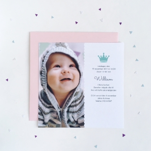 Crown Foto Inbjudningskort | TRYCKSTUDION.SE | Dopkort