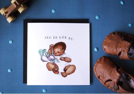 Kitty Jutbring illustration till dopkort, namngivning o födelse