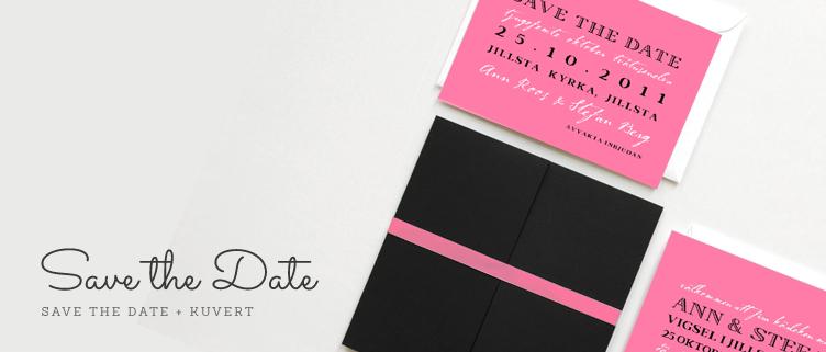 Designade save the date kort till bröllop