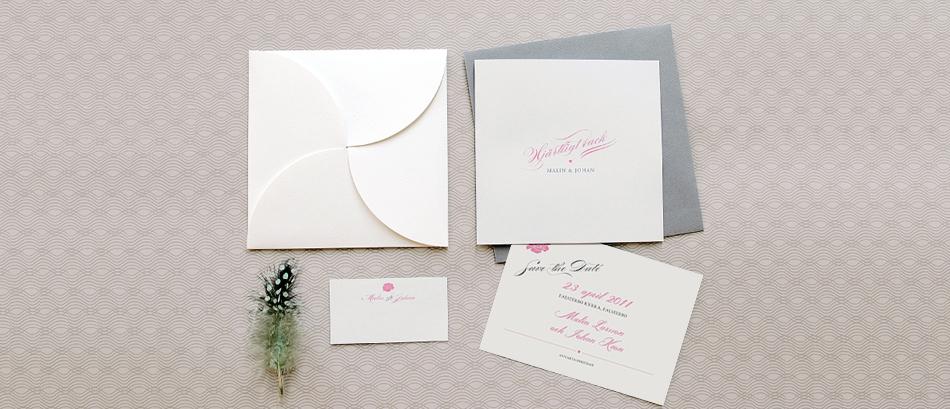 Inbjudningskort till bröllop, Save the date, Placeringskort i serien Adele