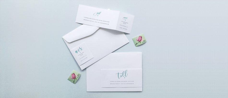 Tryck gästernas adresser och avsändare på våra adresslappar