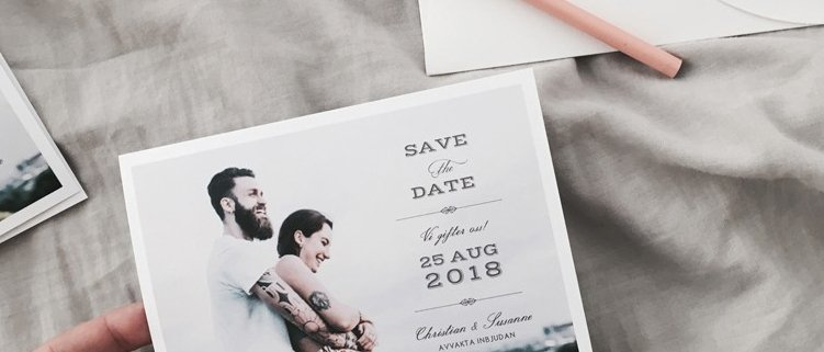Vintage Save the date med foto