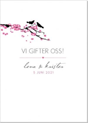 Bird branch inbjudningskort bröllop