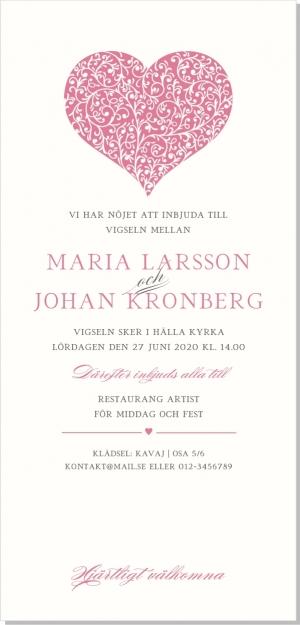 Blooming Heart inbjudan bröllop