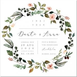 Blomkrans Bröllopsinbjudan