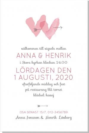 Hearts inbjudningskort bröllop