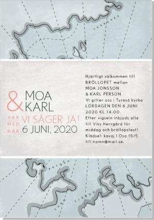 Map inbjudan bröllop