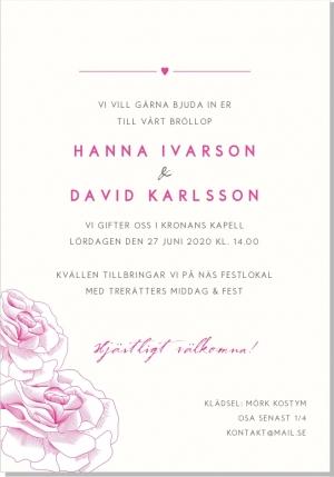 Rose inbjudningskort bröllop