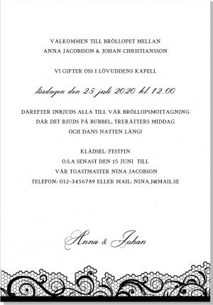 Swirly lace inbjudningskort bröllop