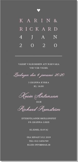 Trend bröllop inbjudningskort