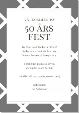 50 års kalas inbjudan Vega Inbjudningskort 50 års kalas inbjudan