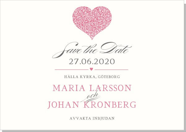Printable Blooming Heart Save the date + kuvert