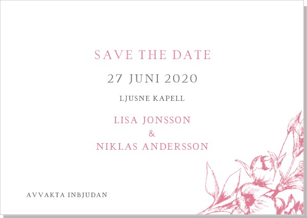 Printable Blooming Save the date + kuvert