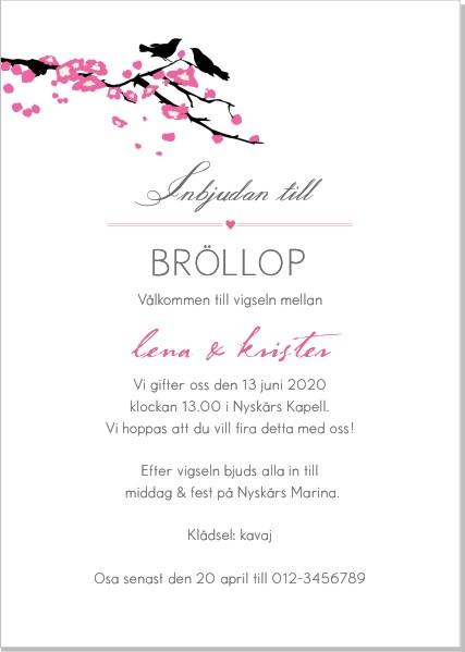 Printable Bird branch Inbjudningskort