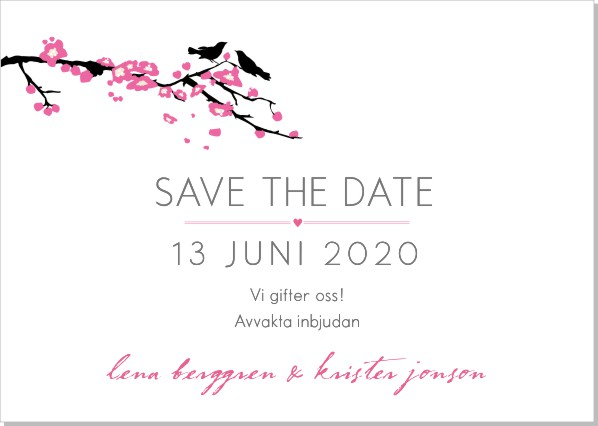 Printable Bird branch Save the date + kuvert
