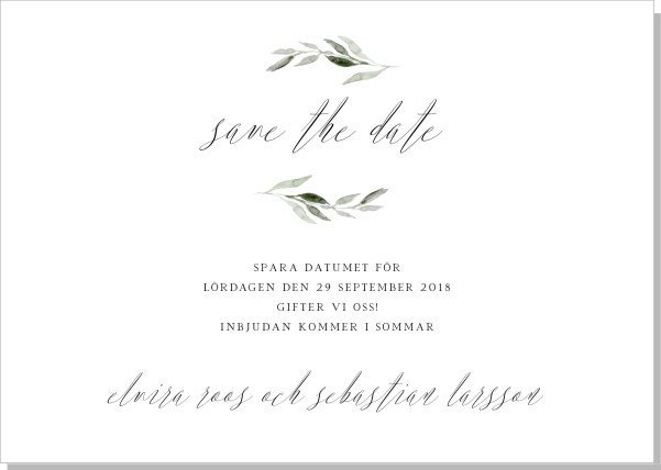 Printable Botanic Save the date + kuvert