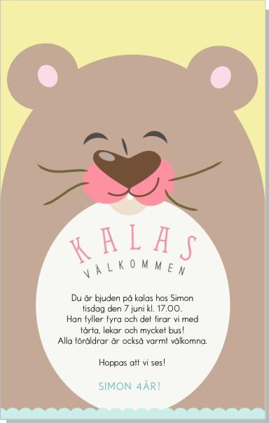 Printable Bear Inbjudningskort