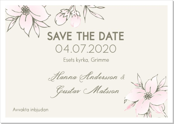 Printable Lulu Flowers Save the date + kuvert