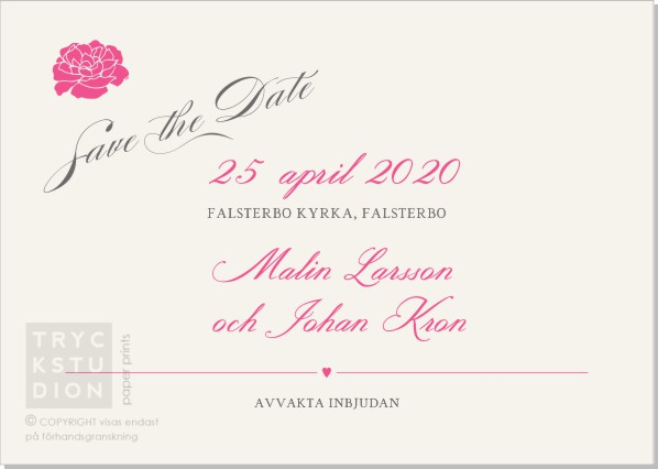Printable Adele Save the date + kuvert