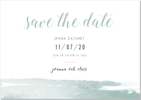 Printable Akvarell Save the date + kuvert