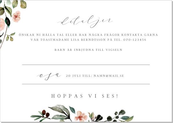 Printable Blomkrans Inbjudningskort